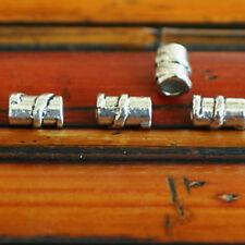 20 perles tubes longs fleur rosace métal argenté 14mm DIY création bijoux MA103