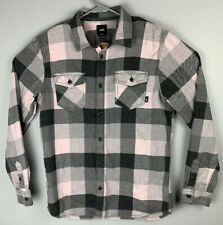 Vans Button Up Flannel Long Sleeves Light Pink Mens M Medium