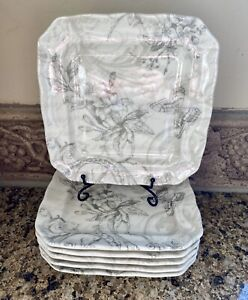 """222 Fifth LOVE POEM 6.25"""" Square Appetizer Plate Set: 6-Pc Grey Floral Butterfly"""