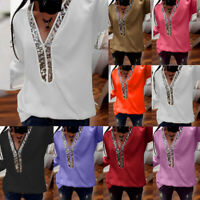 Fashion Women Casual V Neck Tops Sequin Long Sleeve T-Shirt Top Blouse Plus Size