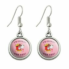 Humor Novelty Dangling Drop Charm Earrings I'm Cuckoo For You Crazy Clock Funny
