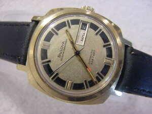 Vintage GOLD FD large antique Diver BULOVA OCEANOGRAPHER AUTOMATIC mens watch