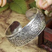 Women Tibetan Silver Carved flower Cuff bangles Bohemian vintage Bracelets 1pcs