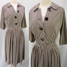 Vintage 40s 50s R&K Brown Gingham Mod Big Button Belted Secretary Dress S