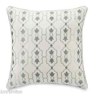 """B. Smith Maren Decorative Square Toss Pillow 18X18"""" Geometric Embroidery Ivory"""