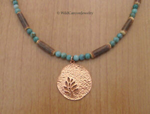 Copper Tree Hammered Pendant Necklace