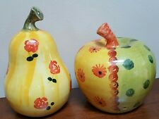 Italian Hand Painted Clay Pottery Pair of Decorative Fruit APPLE PEAR Made Italy