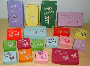 Birthday Gift Boxes. Mixed Size & Colours. New/Unused.