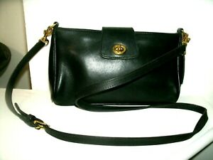 Coach No. 9154 Iconic Small Black Leather Cross-body Bag Very Nice in EUC!!