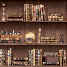 Holden Vintage Book Case Wallpaper Faux Effect Wood Shelf Library Roll 11950