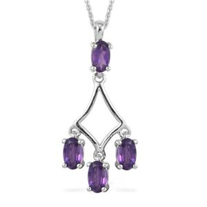 """Amethyst Necklace Pendant Platinum Over 925 Sterling Silver Gift Size 20"""" Ct 0.9"""