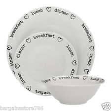 24 Piece White Dinner Service Set Plate Bowls Side Plates Heart Charms Design