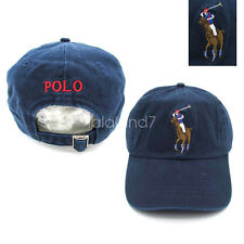 Polo Embroidered Big Pony 3 Chino Hat Baseball Cap Adjustable Strap Navy Blue OS