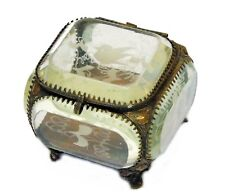 Antique French Beveled Glass Bronze Jewelry Casket Box Vitrine Engraved Birds