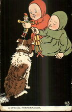 TUCK Ancient Youngsters Children Dog & Dolls c1910 Postcard