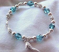 Bracelets: Pavé Shoe Sterling Charm on Teal Swarovski Hand-Crafted Bracelet