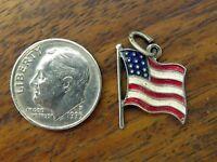 Vintage sterling silver AMERICAN FLAG USA ENAMEL BEAU BEAUCRAFT charm