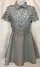 Valentino Dress Gray Embroidered Lace Flair Skirt Size 38 NWT $1835