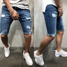 Men's Straight Slim Short Jeans Casual Pants Ripped Skinny Denim Shorts Trousers