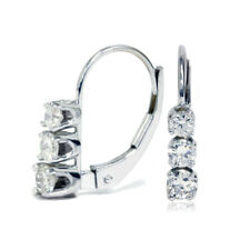 0.50 Ct Round Diamond 14k White Gold Over 3-Stone Leverback Hoop Earrings Hallow