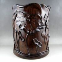 Collection Beautiful Old Chinese Unique HuaLi Wood natural Carved Brush Pot