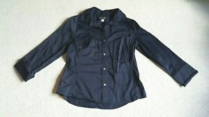 Womens Blouse-BANANA REPUBLIC-navy blue cotton stretch collared button 3/4 slv-L