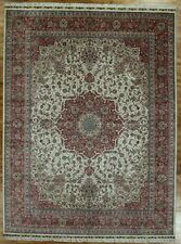 Silk Delightful Hand-Knotted Rug 9x12 Ivory High End Collection Rug