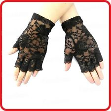 BLACK/WHITE FLORAL LACE BRIDAL WEDDING PUNK GOTHIC HALF FINGER FINGERLESS GLOVES