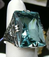 30ct Big*Aquamarine* Sterling Silver Vintage/Deco Filigree Ring: {Made To Order}