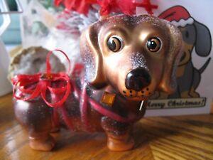 New Dachshund Glass Christmas Ornament w/Bling! & Ribbon--Stocking Stuffer
