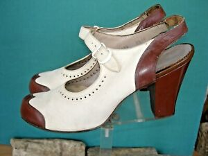 Gold Cross Slingback Spectators Brown/ white Suede Mary Jane 81/2 N