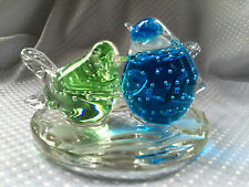PartyLite Birds of Spring Tealight Holder ~ Bubble-infused colored glass ~ Euc!