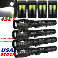 60000LM Tactical Flashlight 5 Modes T6 LED Torch Zoomable Focus 18650 Light USA