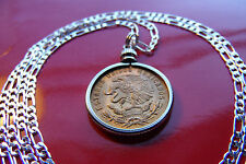 """Mexican Republic Eagle Golden Brass Coin on a 30"""" 925 Sterling Silver Chain"""