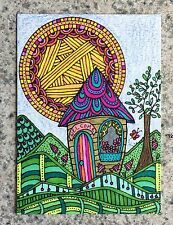 Tiny House ACEO ORIGINAL Hills Cottage Cabin Sun Flowers Tree Collectible