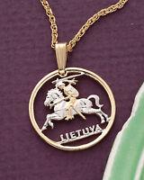"Lithuania Pendant Necklace.Lithuanian Coin Hand cut - 3/4""diameter ( # 227 )"