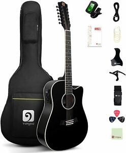 Acoustic-electric Spruce Top 12 String Guitar Dreadnought Cutaway Guitar Bundle