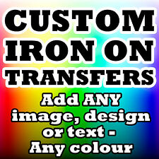 Personalised Iron Transfer T Shirt Tshirt With Design Image Text Any Colour