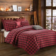 Buffalo Plaid Black and Red Printed Quilt Set Country Farmhouse Lodge