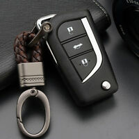 Gun Metal Leather Keychain LUXURY Keyring Key Chain Ring Fob Rope for Car Keys