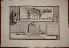 Piranesi stampa antica old print roma 1784 Portico Ottavia architettura spaccato