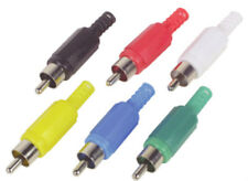 RCA PHONO PLUG, BLACK RED WHITE YELLOW BLUE GREEN CONNECTOR, SOLDERABLE,99p EACH