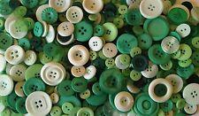 50g BAG ASSORTED BUTTONS - GREEN MIX - SEWING, CRAFTWORK, SCRAPBOOKING