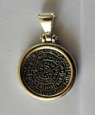 "PHAISTOS DISC GREEK BIG COIN WITH ITALY CHAIN 16"" PENDANT STERLING SILVER 925"