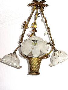 Antik Französische Messing-Porzellan-Glas  Kronleuchter, Lüster 3 Flammig