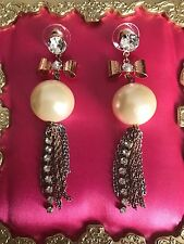 Betsey Johnson Vintage Rose Gold Copper Pearl Bow Chain Crystal Earrings RARE