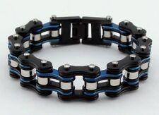 Womens Stainless Steel W Silver Rollers Motorcycle Chain Bracelet Black/Blue