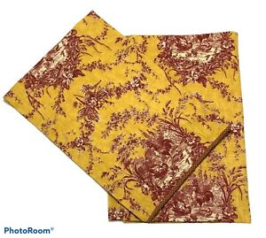 Waverly La Petite Ferme Toile Curtains Red Rooster Yellow 26 x 38 Pair Farm