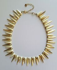 Vintage Spike Necklace Gold White Retro Unsigned Costume Jewelry