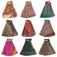 Indian Silk Sari Magic Wrap Around Skirts Beach Wear Reversible Warp Skirt